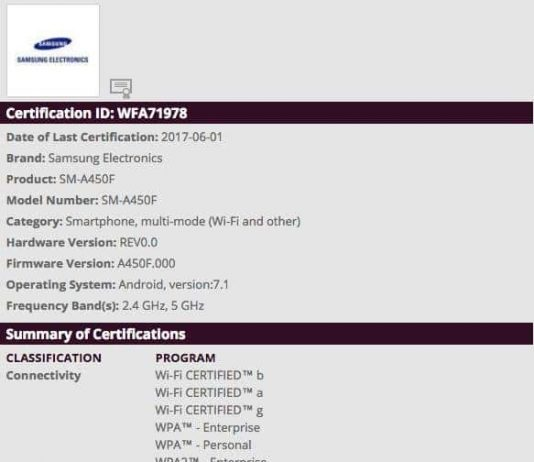 Samsung Galaxy A4 (SM-A450F) 2017 coming with Android 7.1 nougat receives Wi-Fi certificationSamsung Galaxy A4 (SM-A450F) 2017 coming with Android 7.1 nougat receives Wi-Fi certification